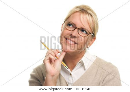 Pondering Woman With Pencil