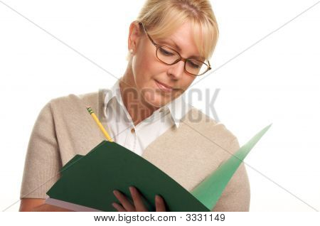 Busy Beautiful Woman With Pencil And Folder