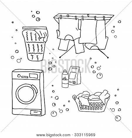 Laundry Doodle Set, Washing Clothes, Washing Machine, Laundry Detergent, Laundry Basket, Clothes Dry