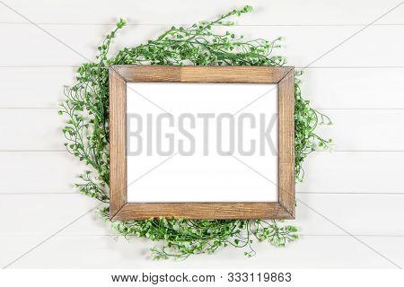 8x10 16x20 Horizontal Wooden Frame Mockup, Rustic Frame Mockup On White Background