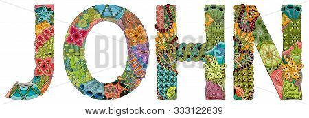 Male Name John. Vector Decorative Zentangle Object