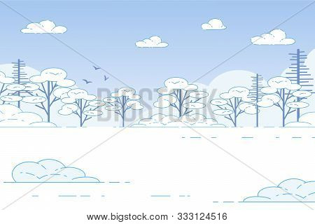 Winter Landscape Scene Of Snow-covered Trees In Forest, Tranquil Plain View. Nature At Wintertime, B
