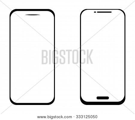 Smartphone Outline Vector Stock Icons Set Of Mobile Smartphone Screen Simple Flat Icon Mock Up Set T