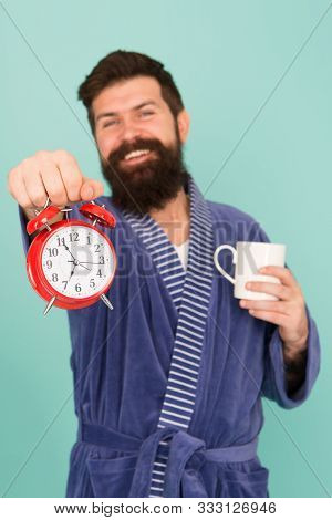 Improve My Morning Routine. Hard Morning. Hipster Drink Morning Coffee. Bearded Man Coffee Cup. Wake
