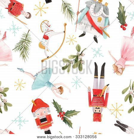 Watercolor Vector Hand Drawn Winter Christmas Nutcracker Fairy Tale Ballet Seamless Pattern