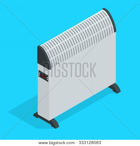 Isometric White Home Electric Convector Heater. Electric Heater Battery. Radiator. Equipment For Rap