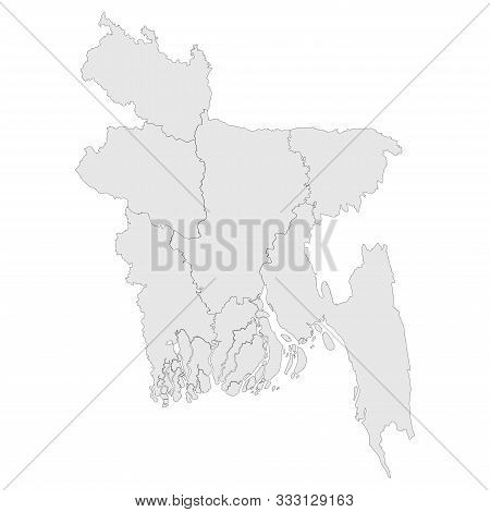 Bangladesh Map Blank With Boundaries Vector Illustration. Light Gray Color.