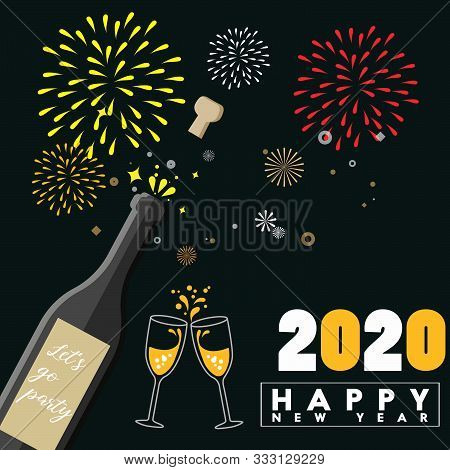 2020. Happy New Years 2020 Illustration Card. Happy New Years 2020 Greeting Card Design Concept. 202