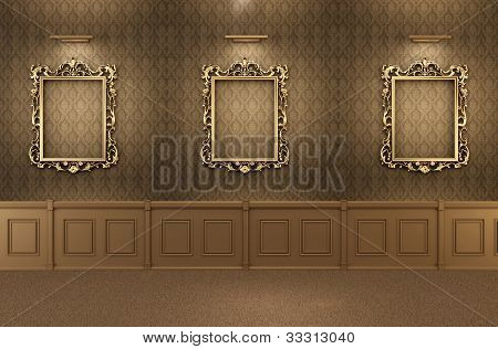 Luxurious Gallery Interior With Empty Frames On Wall. Wooden