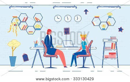 Vector Illustration Communication Office Principal. Woman In Business Suit Is Sitting Office, Teenag