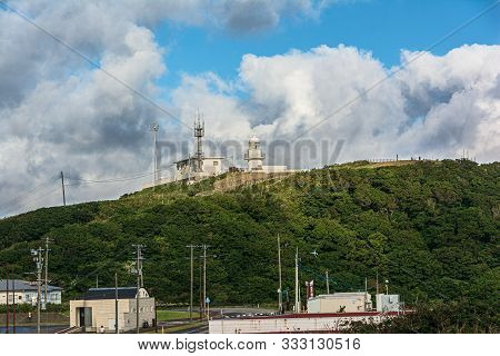 Tappi, Aomori, Japan, Asia - August 29, 2019 : View Of Cape Tappi Lighthouse, Sotogahama