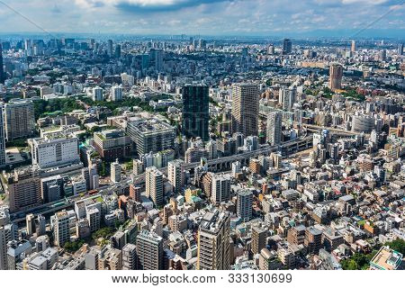 Tokyo, Japan, Asia - September 7, 2019 : Aerial View Of Tokyo From Tokyo Tower