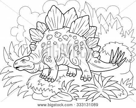 Cartoon Prehistoric Dinosaur Stegosaurus, Coloring Book, Funny Illustration