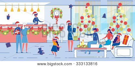Hotel Reception Staff Greet And Wish Quests Merry Christmas. Family With Children Winter Vacation In