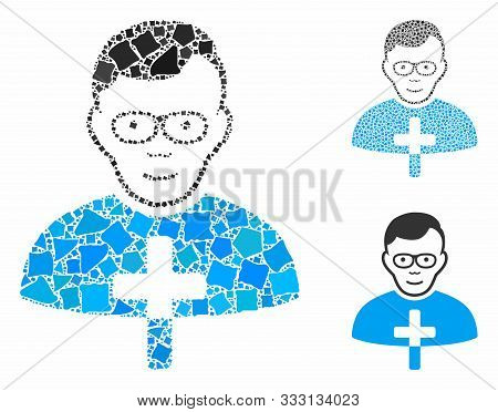 Catholic Shepherd Composition Of Raggy Elements In Different Sizes And Color Tones, Based On Catholi