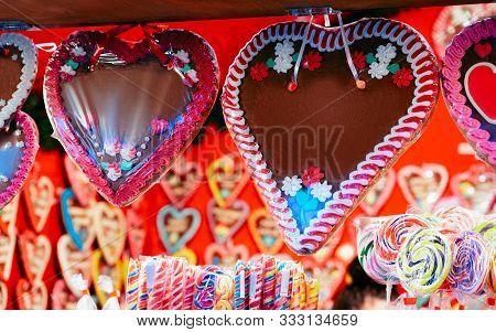 Gingerbread Hearts Cookies At Christmas Market At Charlottenburg Palace Berlin