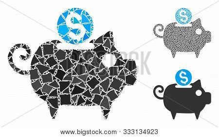 Piggy Bank Composition Of Trembly Parts In Variable Sizes And Color Hues, Based On Piggy Bank Icon.