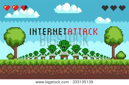 Pixel Game Interface Hacker Attack. Hacker Troll Monster Characters, Hacking The Internet. E-mail Sp