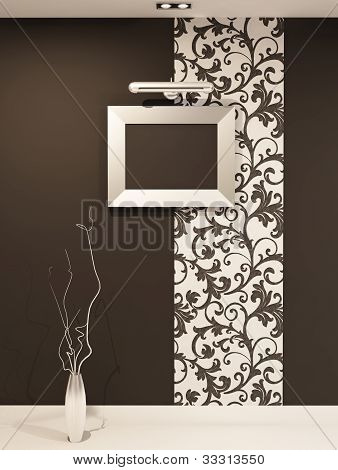Empty Frame For Photo On Decorative Wall With Vegetable Ornament. Showroom. Luxury Gallery In Modern