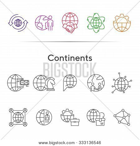 Continents Line Icon Set. Globe, World, Person, Briefcase, Handshake. Foreign Affairs Concept. Can B
