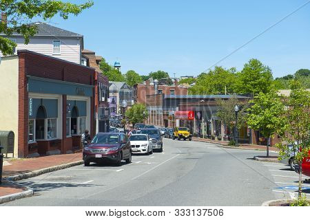 Gloucester, Ma, Usa - Jun. 3, 2018: Historic Commercial Buildings On Main Street In Downtown Glouces