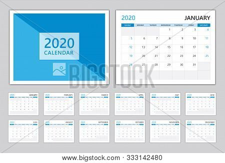 Calendar 2020, Set Desk Calendar 2020 Template, Can Use Place For Photo And Company Logo Blue Cover