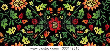 Floral Seamless Horizontal Pattern On Dark Background. Vector Illustration Coloring For Khokhloma.