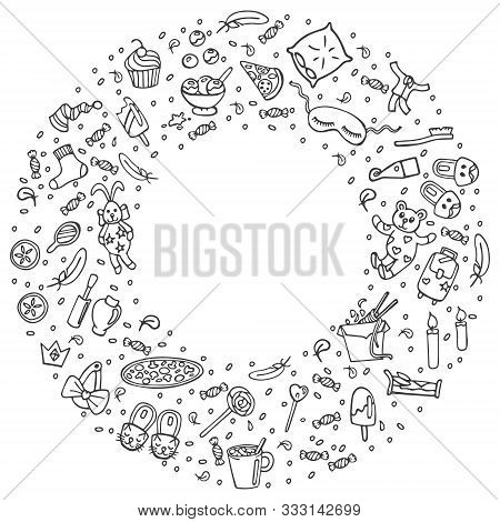 Pajama Party Linear Concept In Circle With Space For Text. Sleepover Or Slumber Party Objects In Doo
