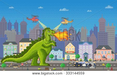 Pixel Game Retro Style, Dragon Or Dinosaur Vector. Dangerous Character Of Gaming Process. Police Fig