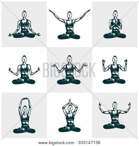 Set Of Yoga Logo Design Template. Health Care, Beauty, Spa, Relax, Meditation, Nirvana Concept Icon.