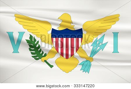 Virgin Islands Flag Vector Icon, Virgin Islands Flag Waving In The Wind.