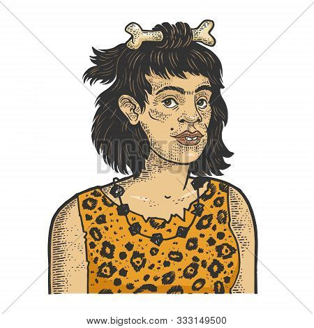 Primitive Caveman Human Woman Sketch Engraving Vector Illustration. T-shirt Apparel Print Design. Sc