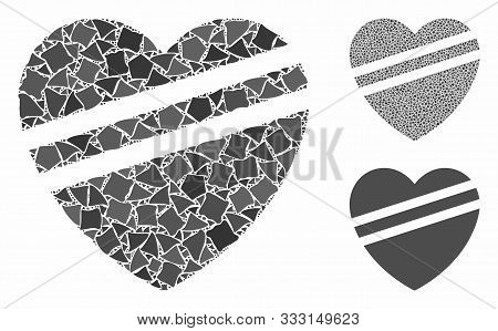 Sick Heart Mosaic Of Trembly Elements In Various Sizes And Color Tinges, Based On Sick Heart Icon. V