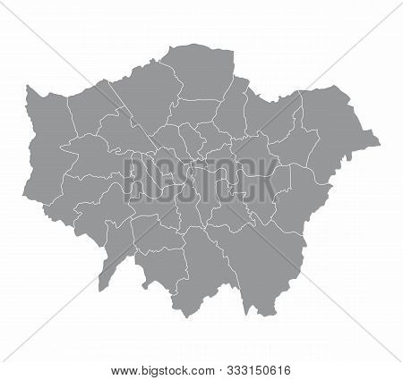 A Gray London Map Divided Into Regions