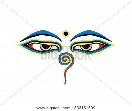 Vector Buddha Eyes On White Background. Nepal Symbol