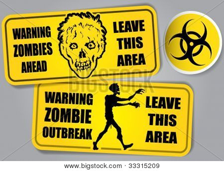Zombie Outbreak Biohazard warning stickers / labels