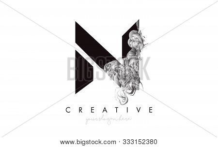 Letter N Logo Design Icon With Artistic Grunge Texture In Black And White Vector Illustration.