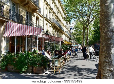 Paris, France. August 15, 2019. Parisian Cafes With Terraces And People At The Latin Quarter. Boulev