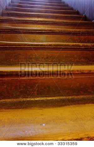 old worn wooden steps