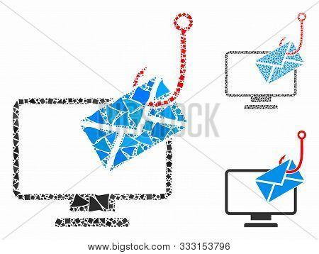 Computer Mail Phishing Composition Of Trembly Items In Different Sizes And Color Tinges, Based On Co