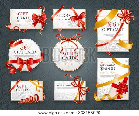 Gift Cards With Inscriptions And Sum Vector. Paper Certificate Decorated By Red Ribbons And Decorati