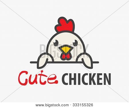 Vector Logo Of сute Funny Smiling Cartoon Chicken. Modern Humorous Logo Template With Image Of The R
