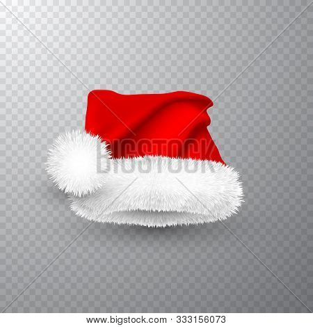 Realistic Red Santa Claus Hat Isolated On Gray Transparent Background. Gradient Mesh Santa Claus Cap