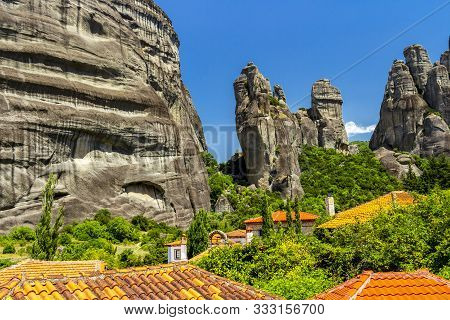 Rock Formations And Rooftops At The Village Of Kastraki, Kalabaka Municipality, Central Greece. East