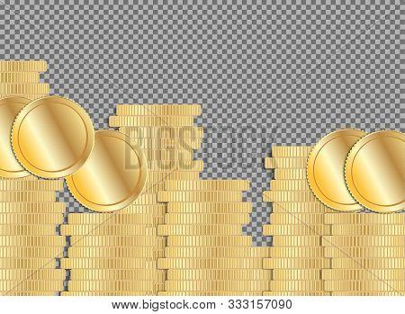 Coin Stack. Gold Money Pile. Flat Cash Gain Symbol On Transparent Background. Pound Or Dollar Curren
