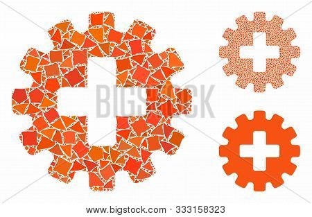 Plus Gear Mosaic Of Abrupt Items In Different Sizes And Shades, Based On Plus Gear Icon. Vector Rugg