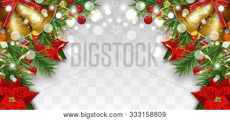 Christmas And New Year Border Decorations With Fir Branches, Golden Bells, Christmas Flowers Poinset