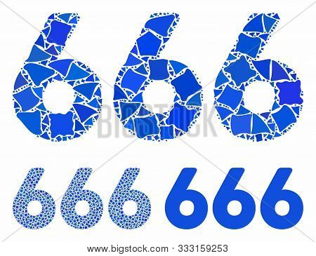 666 Digits Text Composition Of Irregular Pieces In Variable Sizes And Color Tinges, Based On 666 Dig