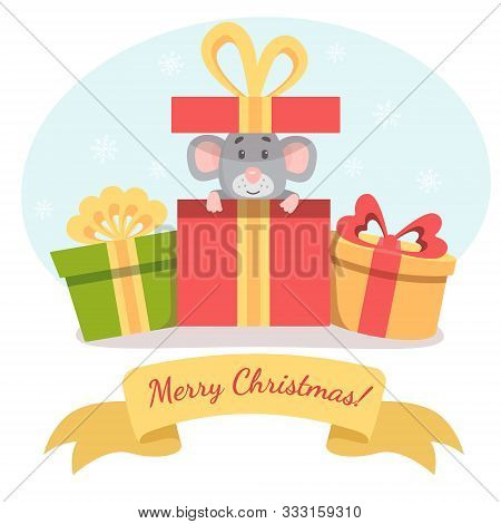 Little Cute Mouse Peeks Out Of Gift Box And Wish You A Merry Christmas. Vector Illustration For Post