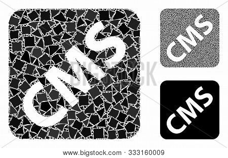 Cms Mosaic Of Bumpy Items In Different Sizes And Color Tones, Based On Cms Icon. Vector Unequal Item